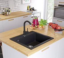 Granite Kitchen Sink Single Basin Black - Black -