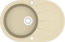 Granite Kitchen Sink Single Basin Oval Beige -