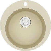 Granite Kitchen Sink Single Basin Round Beige -