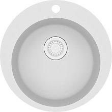 Granite Kitchen Sink Single Basin Round White -