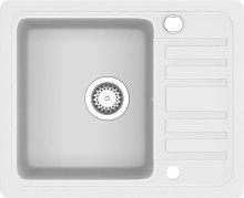 Granite Kitchen Sink Single Basin White - White -