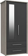Grasmere 2 Door 2 Drawer Mirror Wardrobe - Dark
