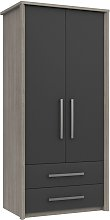 Grasmere 2 Door 2 Drawer Wardrobe - Dark Grey