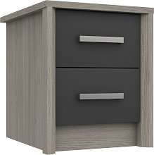 Grasmere 2 Drawer Bedside Table - Dark Grey