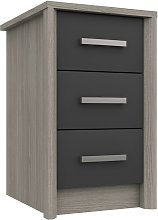 Grasmere 3 Drawer Bedside Table - Dark Grey