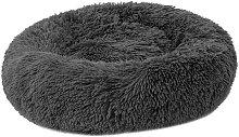 Gray and black round plush animal nest diameter