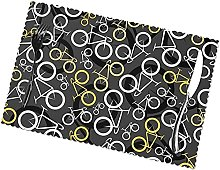 Gray and Yellow Bicycles Table Mats Set of 6