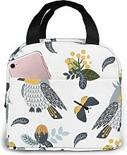 Gray Birds and Flowers Reusable Insulated Lunch