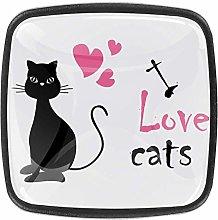 Gray Black Cat 4pcs Glass Cupboard Wardrobe
