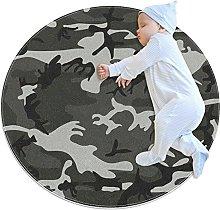 Gray Camouflage, Kids Nursery Rug Play Mat Round
