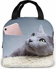 Gray Cat Divert Attention Lunch Bag Tote Bag,