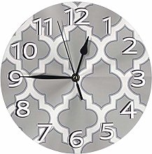 Gray Coral and Navy Moroccan Clock Battery