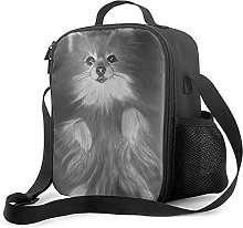 Gray Dog Insulated Lunch Bag, Leakproof Flat Lunch