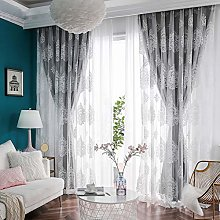 Gray Double Layer Window Blackout Curtain with