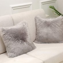 Gray Faux Fur Cushion Cover Deluxe Decorative Sofa