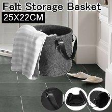 Gray Felt Storage Basket with Handle for Bedroom