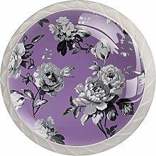 Gray Flowers 4pcs Glass Cupboard Wardrobe Cabinet