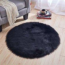 Gray imitation wool round carpet computer chair