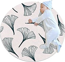 Gray leaves, Kids Round Rug Polyester Throw Area