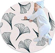 Gray leaves, Round Area Rug Pattern Round Children
