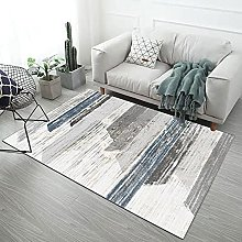 Gray line rectangle Fluffy Rug for the Bedroom,