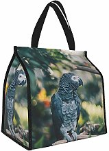 Gray Parrot Parrot Bird Lunch Tote Bags Insulated