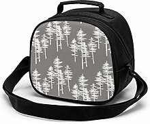 Gray Pine Trees Insulated Lunch Bag Mini Cooler