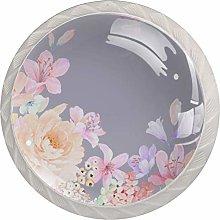 Gray Pink Flower 4pcs Glass Cupboard Wardrobe