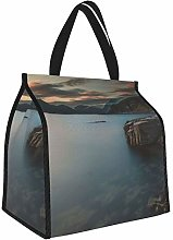 Gray Rock Formation On Body of Water Lunch Tote