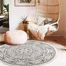 Gray Round Woven Cotton Rug 120cm with Fringe
