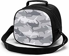 Gray Shark Insulated Lunch Bag Mini Cooler Thermal