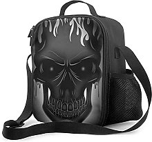 Gray Skull Insulated Lunch Bag, Leakproof Flat