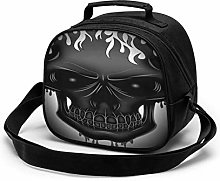 Gray Skull Insulated Lunch Bag Mini Cooler Thermal