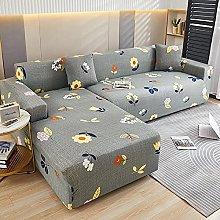 Gray, Small Flowers Sofa Covers Elastic Slipcover