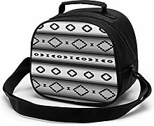 Gray Striped Mexican Insulated Lunch Bag Mini