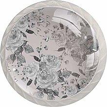 Gray White Flower 4pcs Glass Cupboard Wardrobe