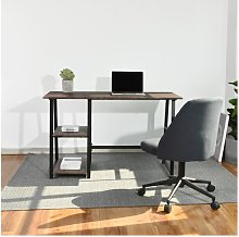 Gray wooden desk with 2 storage shelves