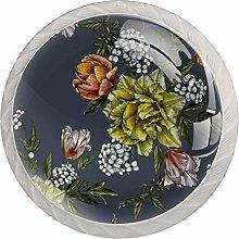 Gray Yellow Flower 4pcs Glass Cupboard Wardrobe
