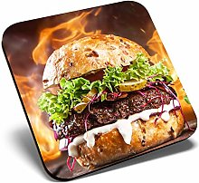 Great Single Coaster Square - Flaming Burger Food
