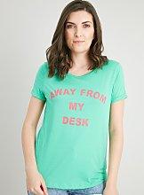 Green 'Away From My Desk' Slogan T-Shirt -