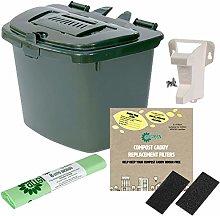 Green 7L Kitchen Compost Caddy Food Bin (7 Litre)