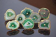 Green Agate Knobs Electroplated Cabinet Knobs