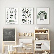Green Alphabet Numbers Animal Print Poster Kids
