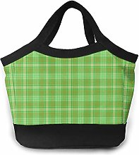 Green and Brown Plaid Insulated Lunch Bag