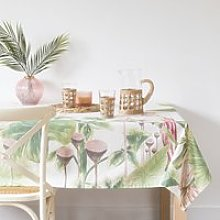 Green and Pink Cotton Tablecloth with Tropical