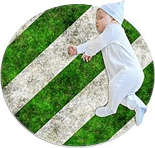 Green and white stripes, Kids Round Rug Polyester
