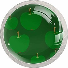Green Apples 4 Pack Glass Drawer Knobs- Round
