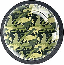 Green Army Camo Dinosaur Pattern Cabinet Door