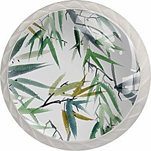 Green Bamboo Leaves 4 Pieces Crystal Glass