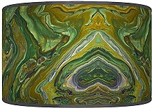 Green Beige Grey Geometric Lampshade - Printed
